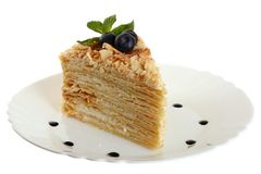 Cake napoleon on a plate isolated Royalty Free Stock Photo