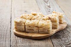 Cake Napoleon, puff pastry custard cream pie Stock Photos
