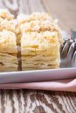 Cake Napoleon, puff pastry custard cream pie Royalty Free Stock Images