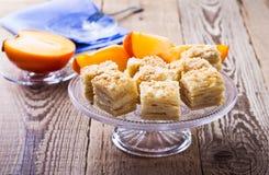 Cake Napoleon, puff pastry custard cream pie Royalty Free Stock Photo