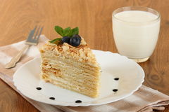 Cake napoleon of puff pastry Stock Images