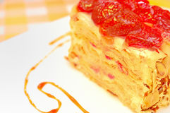 Cake Napoleon with strawberry on the plate Royalty Free Stock Photo