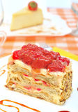Cake Napoleon with strawberry on the plate Stock Photo