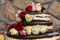 Cake with natural flowers Stock Photography