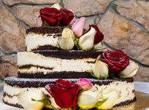 Cake with natural flowers Stock Photos