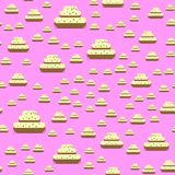 Cake on the neon pink background Royalty Free Stock Photos