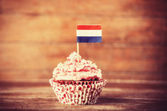 Cake with Netherland flag. Photo in vintage color style Stock Photography