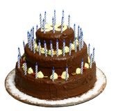 Cake with number 50. On photo is chocolate cake with number 50 and with 50 candels (but not all are visible stock photography