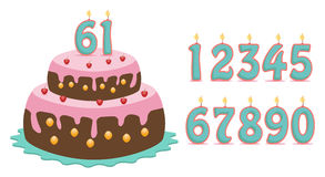 Cake with numbers. Cake with set of number to made all years stock illustration