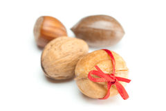 Cake nut and ribbon Royalty Free Stock Photo
