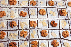 A cake with nuts. A delicious christmas cake with nuts Royalty Free Stock Photos