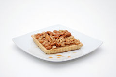 Cake with nuts and coffee Royalty Free Stock Photo