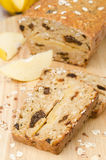 Cake with oatmeal, quince and prunes Royalty Free Stock Image