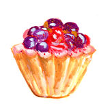 A cake oil painting. Illustration on paper Stock Image