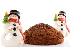 Cake On White Background With 2 Snowmans Royalty Free Stock Photos