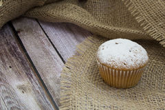 Cake. One cupcake on sackcloth sprinkled with sugar Stock Image