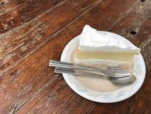 Cake op houten van bruin Royalty-vrije Stock Foto