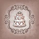 Cake op stipachtergrond royalty-vrije illustratie