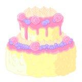 Cake op twee niveaus van het pictogram de heerlijke huwelijk in beeldverhaalstijl Citroen-vanille room, suikergoed en bosbessen i Stock Fotografie