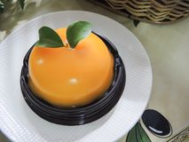 Cake with orange mousse Royalty Free Stock Photos