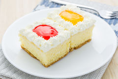 Cake, orange and strawberry flavored berries in white plate. Royalty Free Stock Image