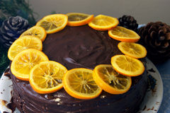 Cake with oranges. Celebratory cake decorated with chocolate and orange Stock Image