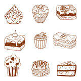 Cake Outline. Set of various cakes outline Royalty Free Stock Image