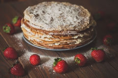 Cake of  pancakes,top view  dark brown wooden background, rustic Royalty Free Stock Photos