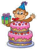 Cake and party monkey theme 1 Royalty Free Stock Image