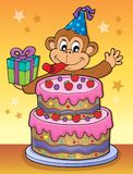 Cake and party monkey theme 2 Royalty Free Stock Images