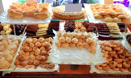 Cake pastries in bakery typical from Spain Royalty Free Stock Images
