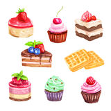 Cake and pastry set of watercolor dessert Royalty Free Stock Images