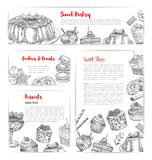 Cake and pastry shop sketch banner template set. Cake and pastry shop banner template set. Cake, cupcake, chocolate, fruit cream dessert, candy, donut, muffin Royalty Free Stock Image