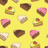 Cake pattern. Seamless background.Vector decorative paper with s Stock Images