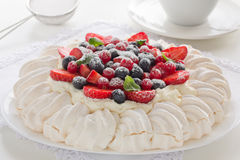 Cake Pavlova. Stock Photo