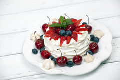 Cake Pavlova meringue Stock Photography