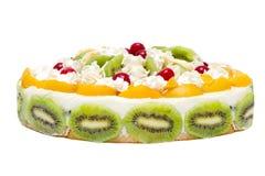 Cake with peaches, kiwi and whipped cream Stock Photo