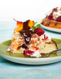 Cake with peaches and raspberries Stock Images
