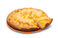 Cake with peaches Stock Images