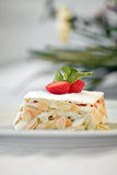 Cake with peanuts and strawberries Royalty Free Stock Images