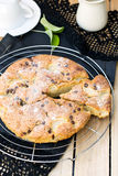 Cake with pears and chocolate chips Royalty Free Stock Photo