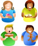 Cake people. Diverse people eating tasty cakes - icon people series Stock Photos