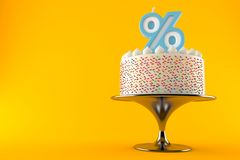 Cake with percent candle. Isolated on orange background. 3d illustration royalty free illustration
