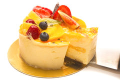 Cake pie with fruit and creme Stock Images
