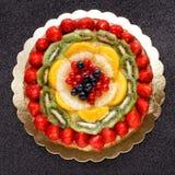 Cake pie fruit decorated topview Stock Photo