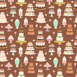 Cake pie tart Happy Birthday cartoon seamless pattern background vector illustration. Royalty Free Stock Photo