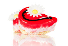 Cake piece decorated with flower valentines day Stock Images