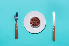 Cake with pills. Eating pills. Concept shot for drug abuse or ph. Armaceutical industries royalty free stock images