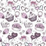 Cake with pink gifts seamless vector pattern. Royalty Free Stock Photo