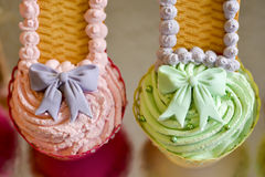 Cake pink and green with bow Stock Photos